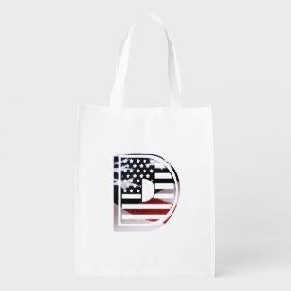 Letter D Monogram Initial USA Flag Pattern Grocery Bag