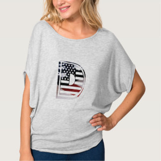 Letter D Monogram Initial USA Flag Pattern T-Shirt