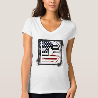 Letter D Monogram Initial USA Flag Pattern T-Shirt