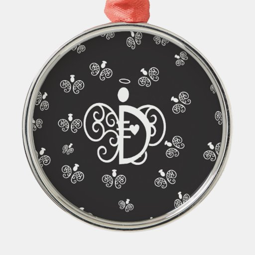 Letter d monogram initial with angels metal ornament zazzle