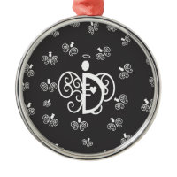 Letter D Monogram Initial with angels Christmas Ornaments