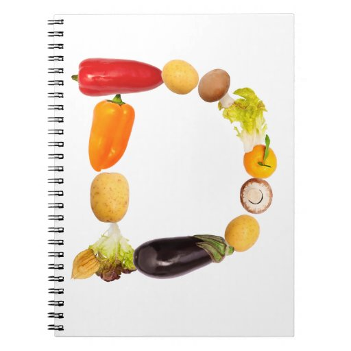 "letter ""d"" of fruits and vegetables spiral notebooks"