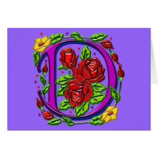 Letter D Rosette Card
