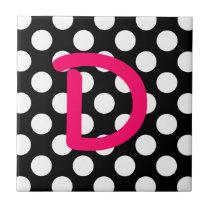 Letter D White Polka Dot Tile