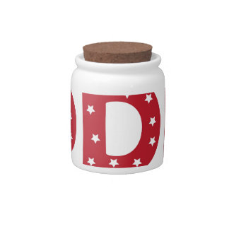 Letter D - White Stars on Dark Red Candy Dish