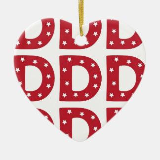 Letter D - White Stars on Dark Red Ceramic Ornament