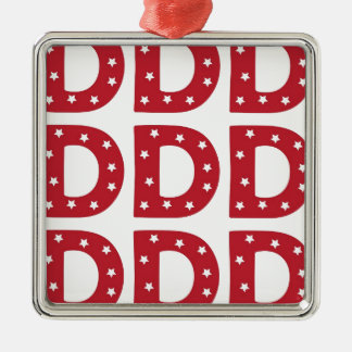 Letter D - White Stars on Dark Red Metal Ornament