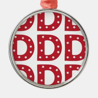 Letter D - White Stars on Dark Red Metal Ornament
