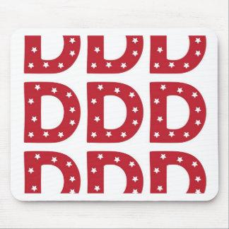Letter D - White Stars on Dark Red Mouse Pad
