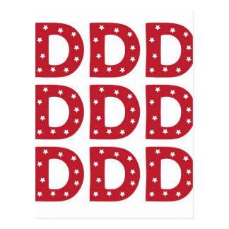 Letter D - White Stars on Dark Red Postcard