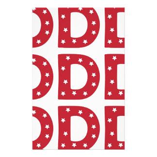 Letter D - White Stars on Dark Red Stationery Paper
