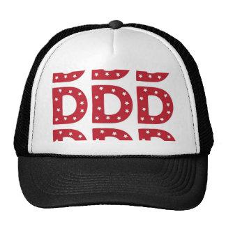 Letter D - White Stars on Dark Red Trucker Hat