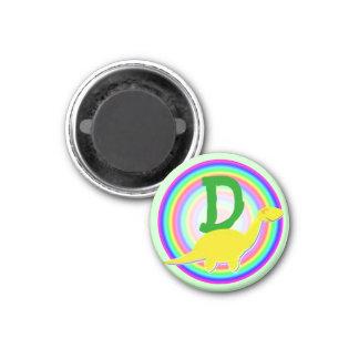Letter D Yellow Dinosaur Diplodocus Fridge Magnet