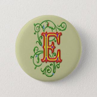 Letter E Alphabet Vines Print Pinback Button