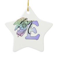 Letter E angel monogram alphabet initial blue and Christmas Ornaments