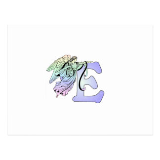Letter E angel monogram alphabet initial blue and Postcard