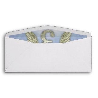 Letter E Angel Monogram Envelope