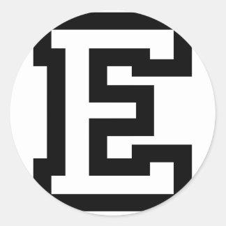 Letter E Classic Round Sticker