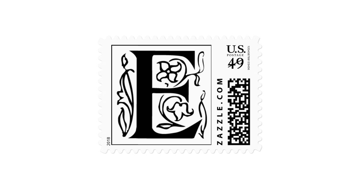 Letter E Fancy Initial Postage Stamps Zazzle