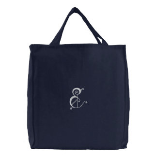 Letter E Fancy Monogram Embroidered Bag