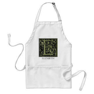 Letter E First Letter Monogram Personalized Adult Apron