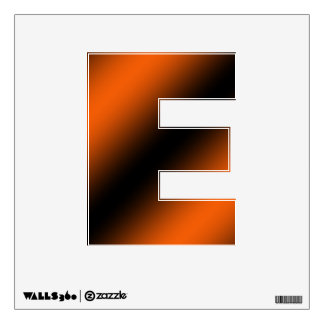 Letter E Initial  - Black and Orange Wall Decal