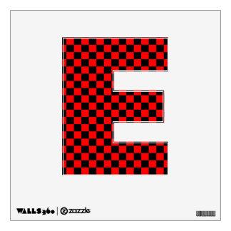 Letter E  Initial  - Black & Red Checker Board Wall Sticker