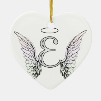 letter e initial monogram with angel wings halo ceramic ornament