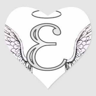 Letter E Initial Monogram with Angel Wings & Halo Heart Stickers
