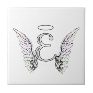 Letter E Initial Monogram with Angel Wings & Halo Tile