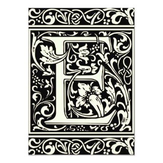 Letter E Medieval Monogram Vintage Initial 4.5x6.25 Paper Invitation Card