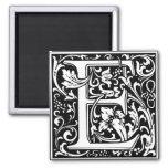 Letter E Medieval Monogram Vintage Initial 2 Inch Square Magnet