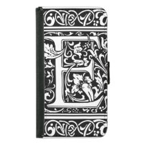 Letter E Medieval Monogram Vintage Initial Wallet Phone Case For Samsung Galaxy S5