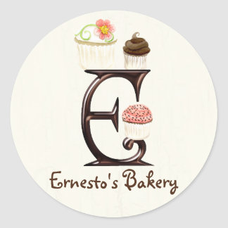 Letter E Monogram Cupcake Logo Business Stickers