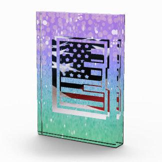 Letter E Monogram Initial USA Flag Pattern Award