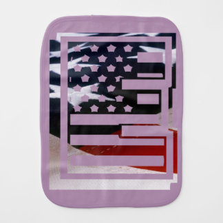 Letter E Monogram Initial USA Flag Pattern Baby Burp Cloth