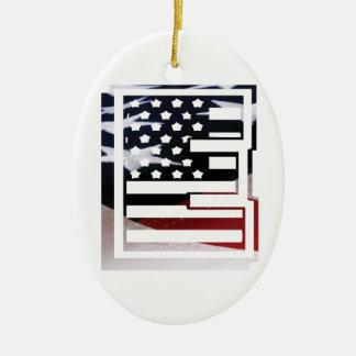 Letter E Monogram Initial USA Flag Pattern Ceramic Ornament