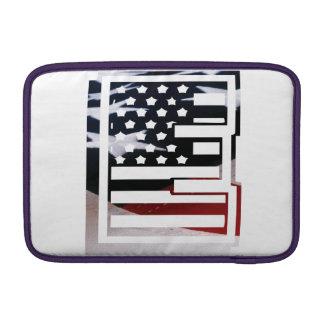 Letter E Monogram Initial USA Flag Pattern MacBook Sleeve