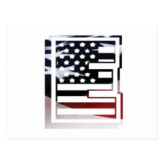 Letter E Monogram Initial USA Flag Pattern Postcard