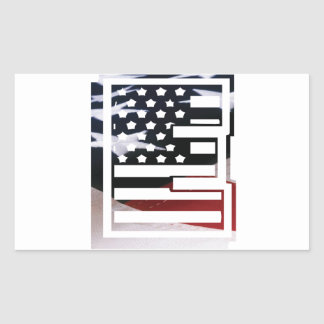 Letter E Monogram Initial USA Flag Pattern Rectangular Sticker