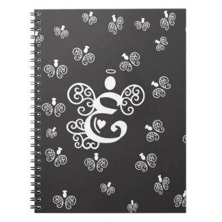 Letter E Monogram Initial with angels Spiral Notebook