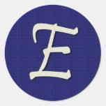 Letter E Monogram Round Stickers
