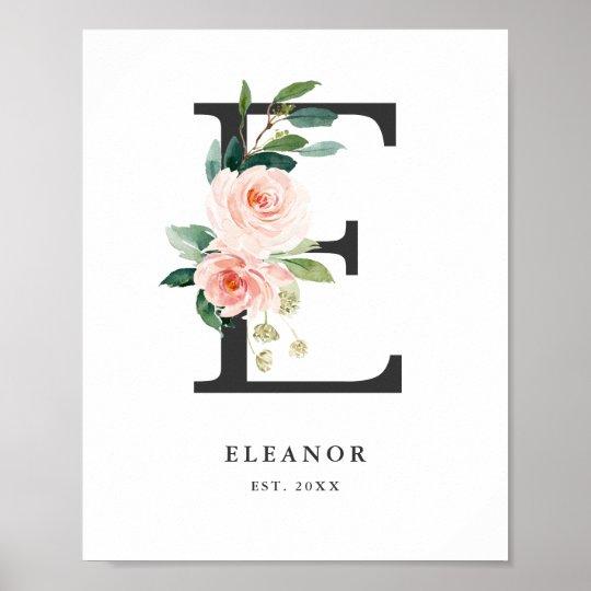 Letter E Monogram Watercolor Peach Fls Nursery Poster