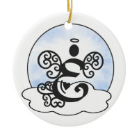 Letter E Monogram with angel and clouds. Ornaments
