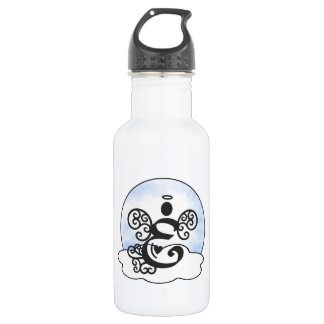 Letter E Monogram with angel and clouds. Water Bottle