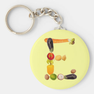 "letter ""e"" of fruits and vegetables llavero redondo tipo pin"