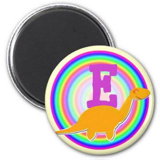 Letter E Orange Dinosaur Diplodocus Fridge Magnet