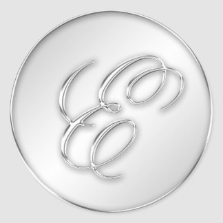 Letter E script initial faux silver monogram favor Stickers