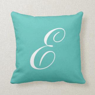 Letter E Turquoise Monogram Pillow