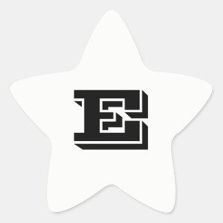 Letter E Vineta Font White Star Stickers by Janz